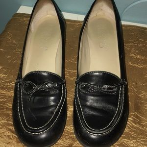 Franco Sarto Black Leather Block Heel Loafers